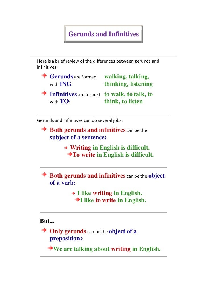 Gerunds and Infinitives<br />Here is a brief review of the differences between gerunds and infinitives. Gerunds are formed...