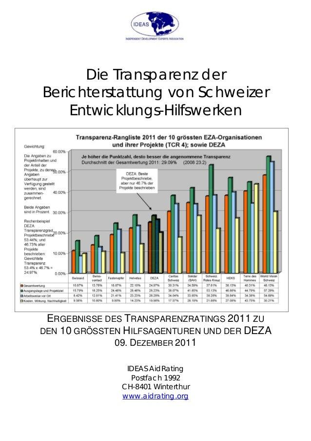 Die Transparenz der Berichterstattung von Schweizer Entwicklungs-Hilfswerken ERGEBNISSE DES TRANSPARENZRATINGS 2011 ZU DEN...
