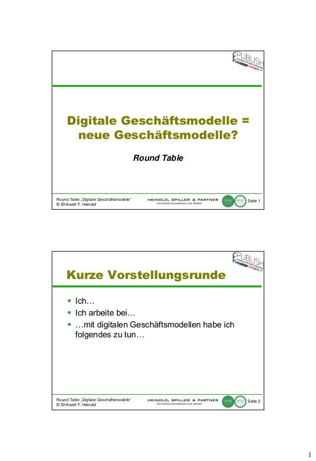 """Digitale Geschäftsmodelle = neue Geschäftsmodelle? Round Table  Round Table """"Digitale Geschäftsmodelle"""" © Ehrhardt F. Hein..."""