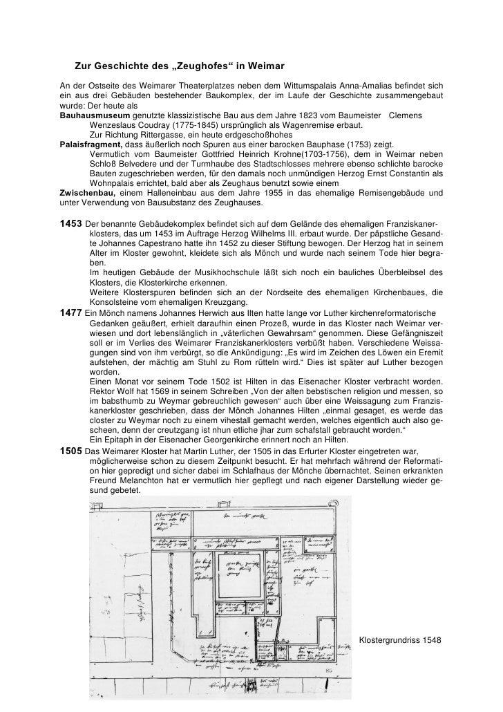 """Zur Geschichte des """"Zeughofes"""" in WeimarAn der Ostseite des Weimarer Theaterplatzes neben dem Wittumspalais Anna-Amalias b..."""