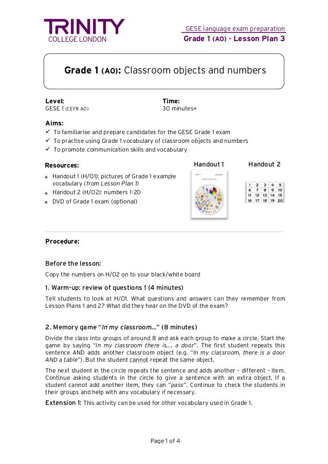 Gese Grade 1 Lesson Plan 3 Classroom Objects And Numbers