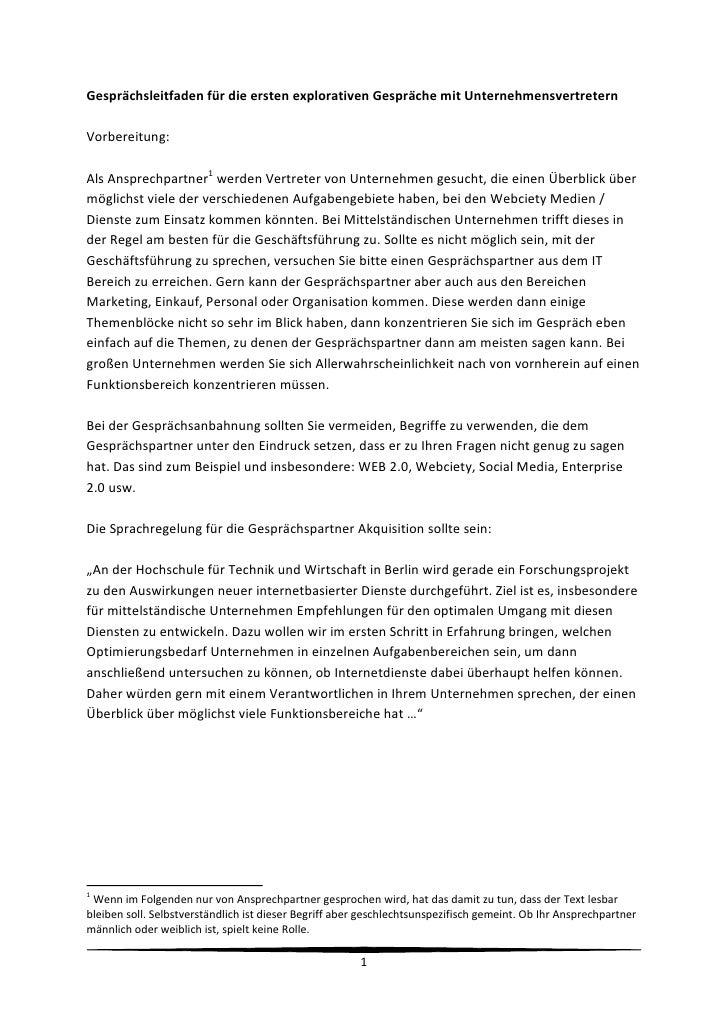GespräChsleitfaden FüR Die Ersten Explorativen GespräChe Mit Unternehmensvertretern