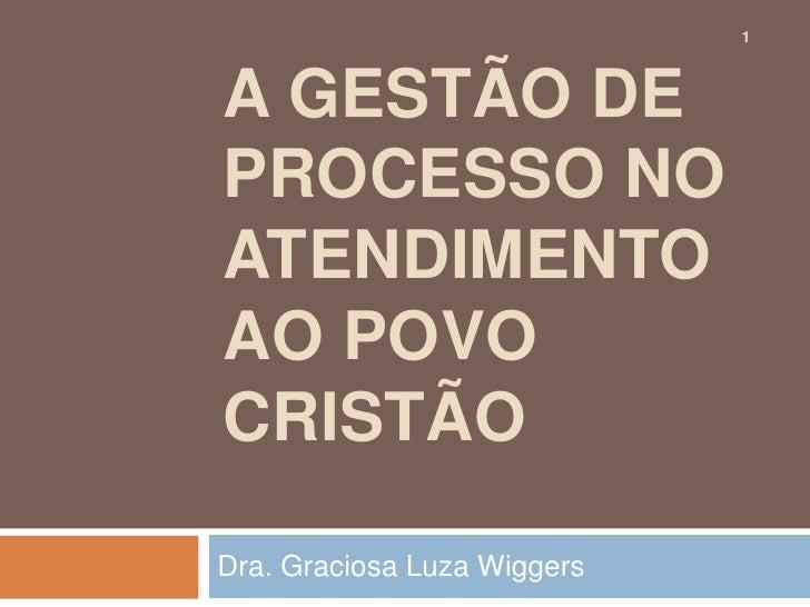 1A GESTÃO DEPROCESSO NOATENDIMENTOAO POVOCRISTÃODra. Graciosa Luza Wiggers