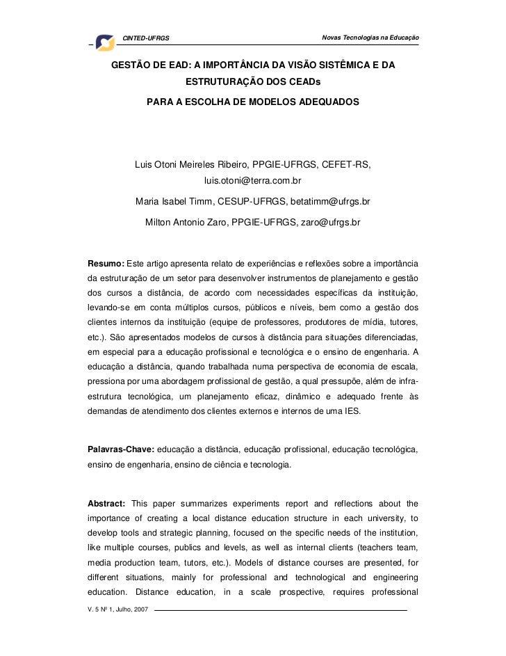 CINTED-UFRGS                                     Novas Tecnologias na Educação        GESTÃO DE EAD: A IMPORTÂNCIA DA VISÃ...