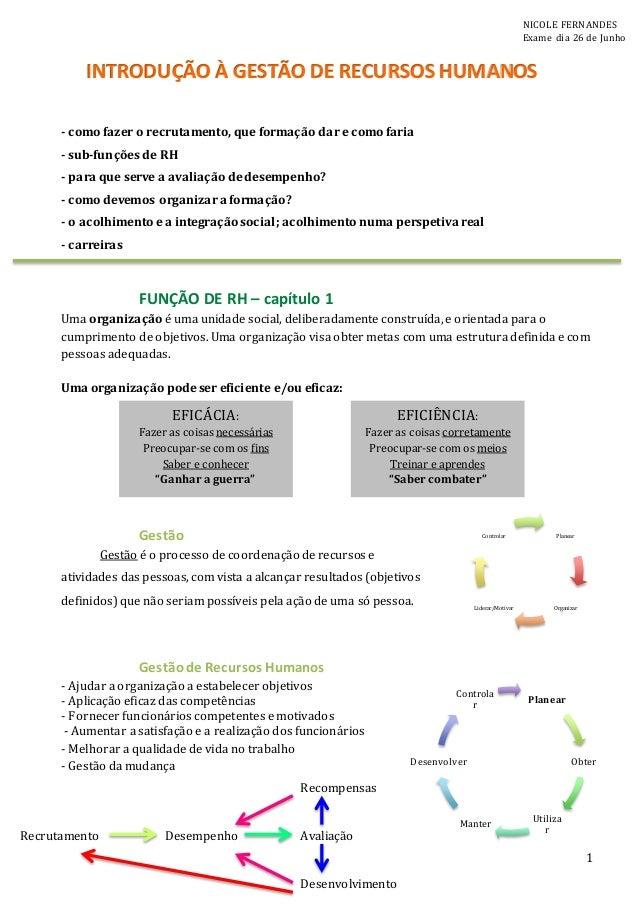 1 - como fazer o recrutamento, que formação dar e como faria - sub-funções de RH - para que serve a avaliação de desempenh...