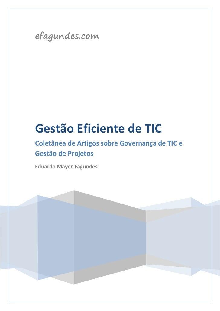 efagundes.comGestão Eficiente de TICColetânea de Artigos sobre Governança de TIC eGestão de ProjetosEduardo Mayer Fagundes
