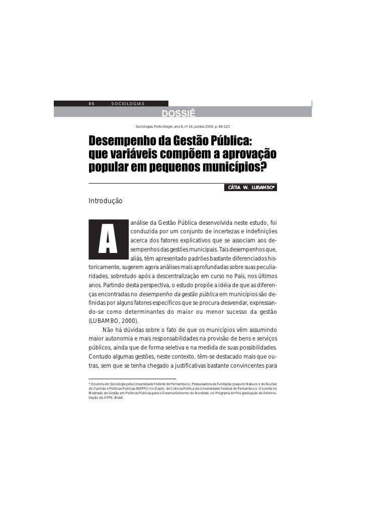 Desempenho da Gestão Pública: que variáveis compõem a aprovação popular em pequenos municípios?