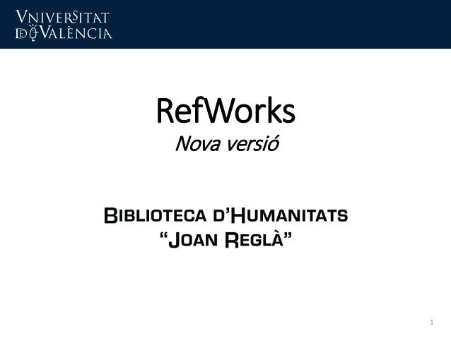 RefWorks Nova versió 1