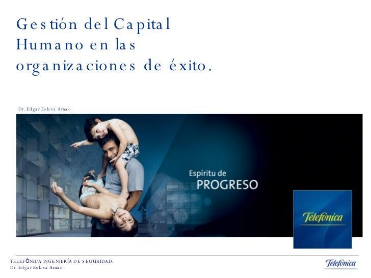 Gestión del Capital Humano en las organizaciones de éxito. Dr. Edgar Eslava Arnao