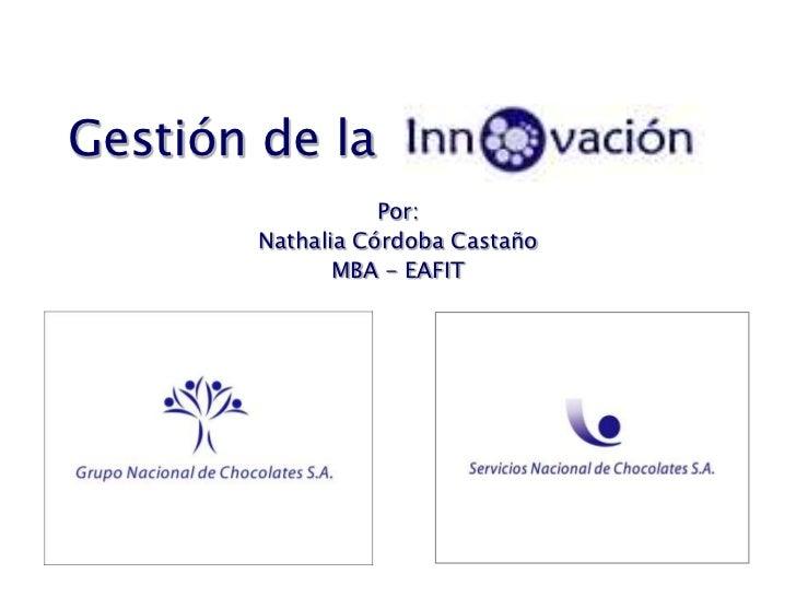 Gestión de la<br />Por:<br />Nathalia Córdoba Castaño<br />MBA - EAFIT<br />