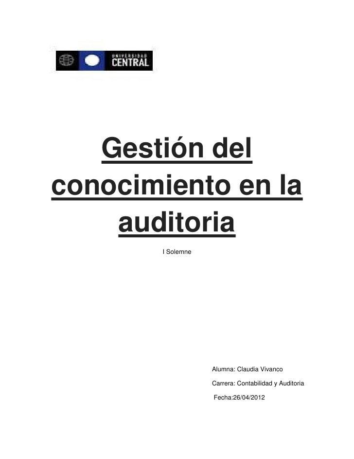 Gestión del conocimiento en la auditoria