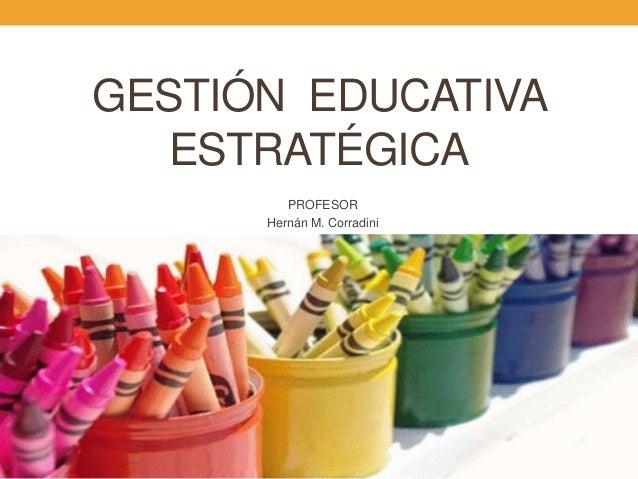GESTIÓN EDUCATIVAESTRATÉGICAPROFESORHernán M. Corradini