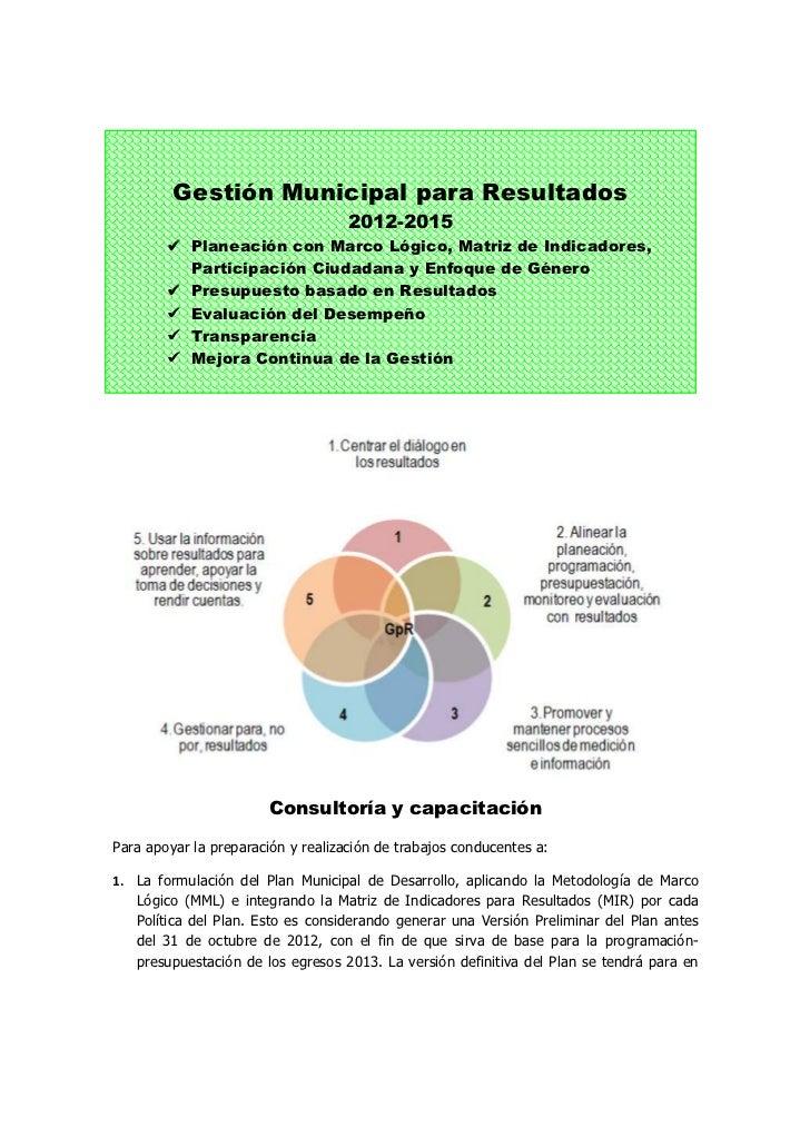 Gestión Municipal para Resultados                                    2012-2015            Planeación con Marco Lógico, Mat...