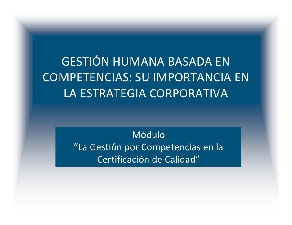 Gestión por Competencias y Certificación De Calidad