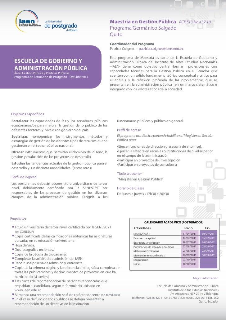 Maestría en Gestión Pública RCP.S13.No.437.10                                                                   Programa G...