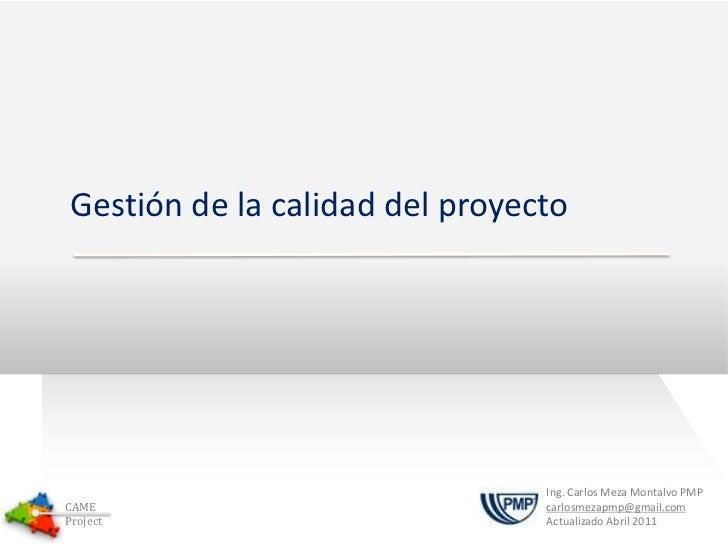 CAME Presentacion - Gestion de la Calidad del Proyecto