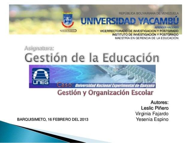 Gestion de la Educacion - Univ. Yacambú 2013