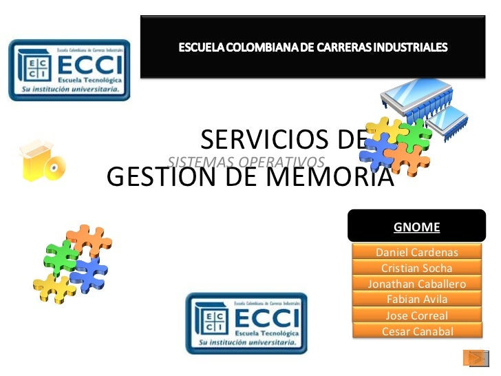 SERVICIOS DE GESTION DE MEMORIA SISTEMAS OPERATIVOS GNOME Daniel Cardenas Cristian Socha Jonathan Caballero Fabian Avila J...