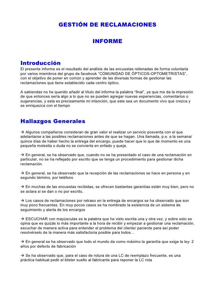 Gestion de Reclamaciones - Informe