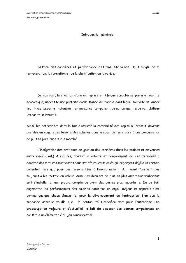 La gestion des carrières et performance IHEE des pme gabonaises Introduction générale Gestion des carrières et performance...