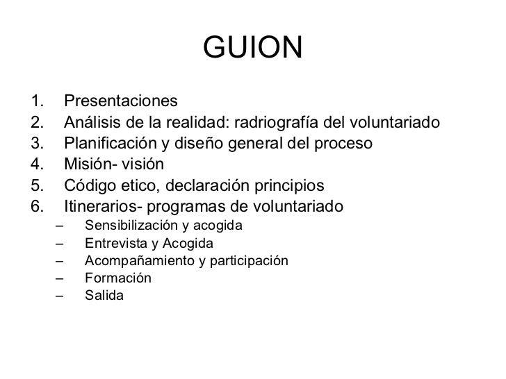 GUION <ul><li>Presentaciones </li></ul><ul><li>Análisis de la realidad: radriografía del voluntariado </li></ul><ul><li>Pl...