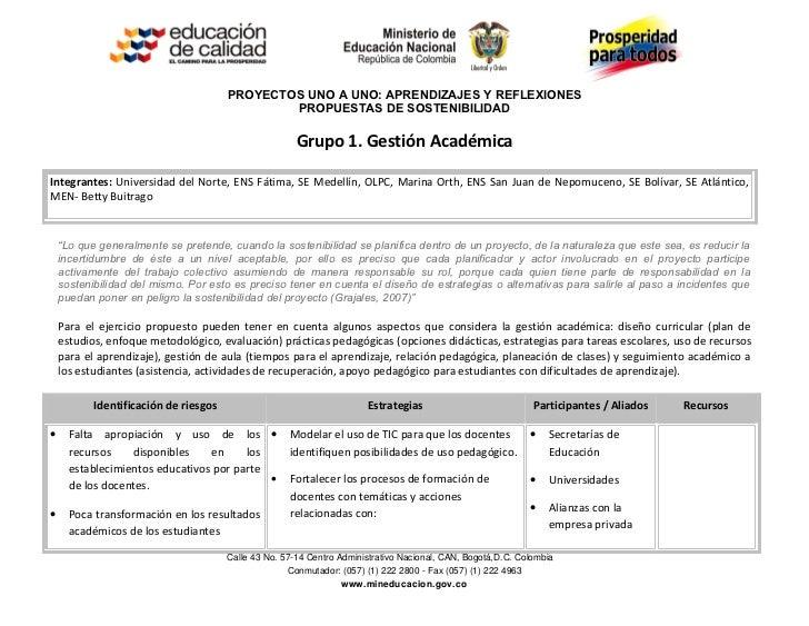 PROYECTOS UNO A UNO: APRENDIZAJES Y REFLEXIONES                                               PROPUESTAS DE SOSTENIBILIDAD...