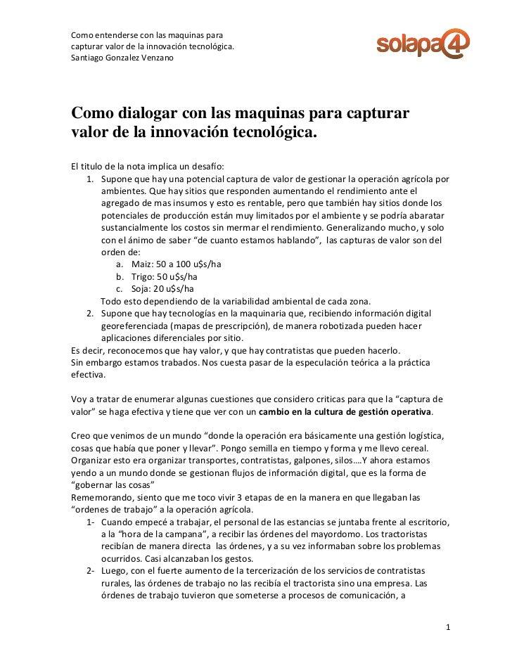 Como entenderse con las maquinas paracapturar valor de la innovación tecnológica.Santiago Gonzalez VenzanoComo dialogar co...
