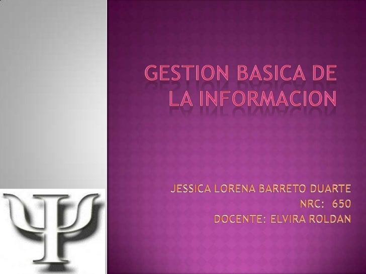 Gestion basica de la informacion lorena barreto