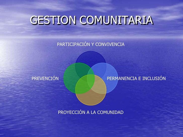 GESTION COMUNITARIA<br />