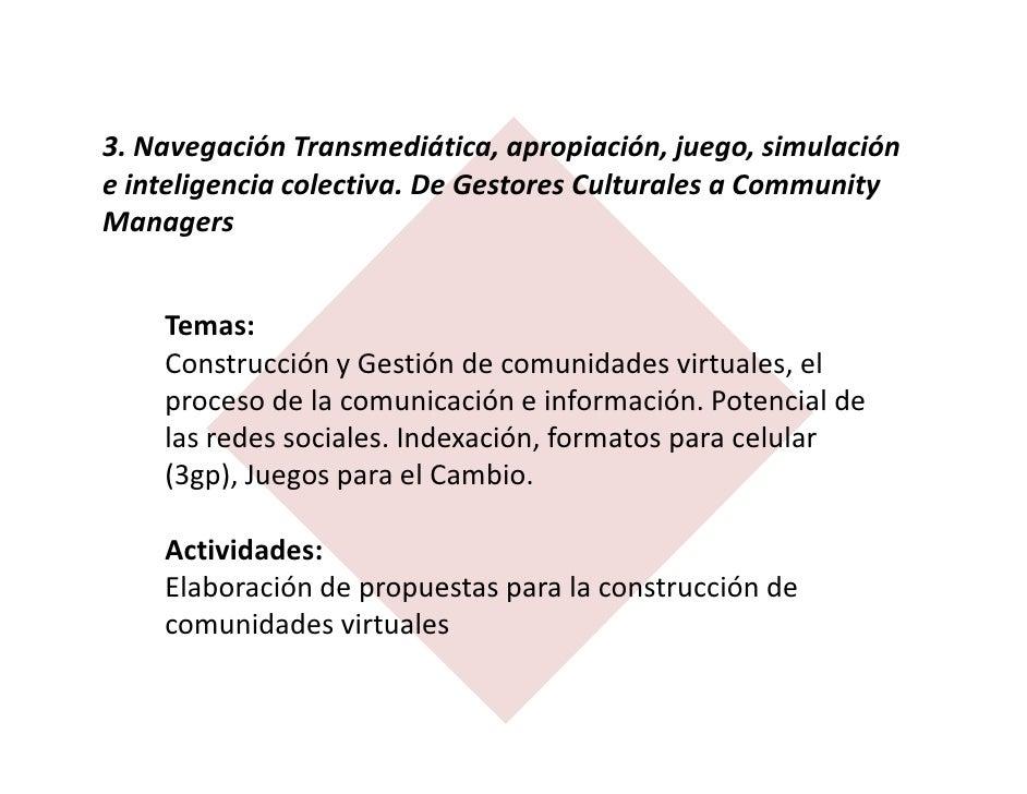 3. Navegación Transmediática, apropiación, juego, simulacióne inteligencia colectiva. De Gestores Culturales a CommunityMa...