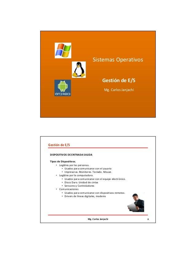 Sistema Operativo - Gestion de Entrada Salida Resumen