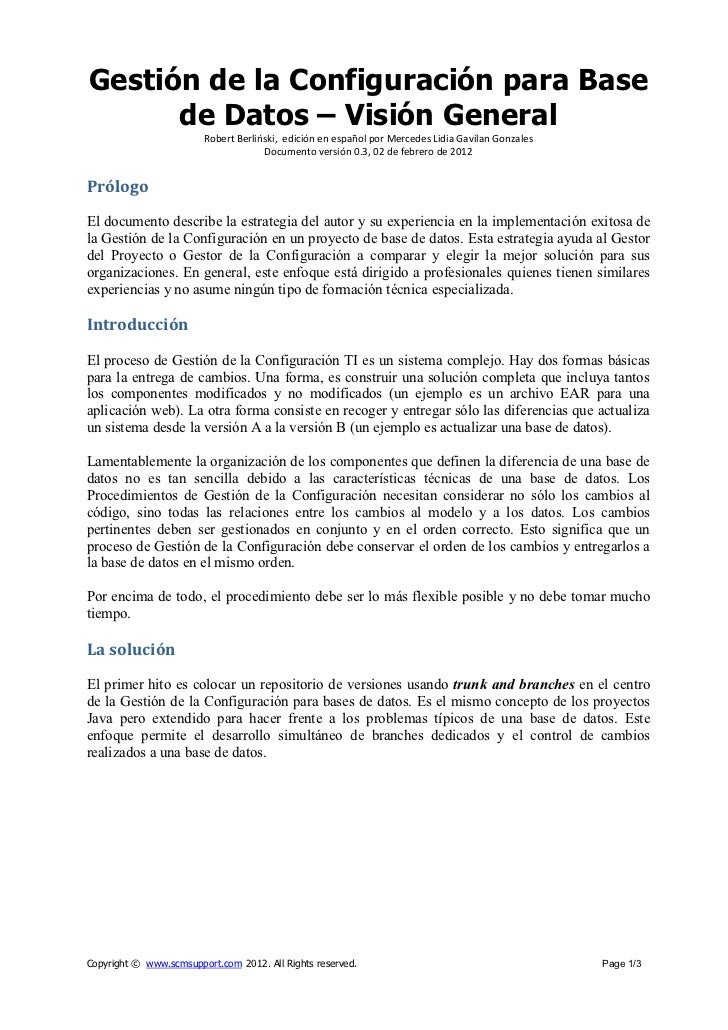 Gestión de la Configuración para Base      de Datos – Visión General                        Robert Berliński, edición en e...