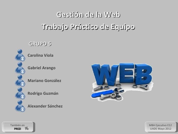 Gestión de la Web                    Trabajo Práctico de Equipo             GRUPO 5             Carolina Viola            ...