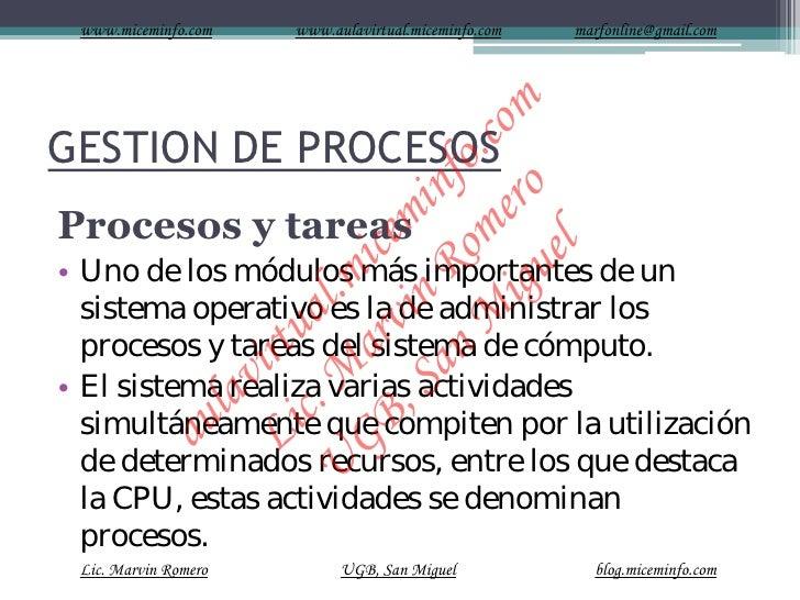 Gestion De Procesos sistemas operativos