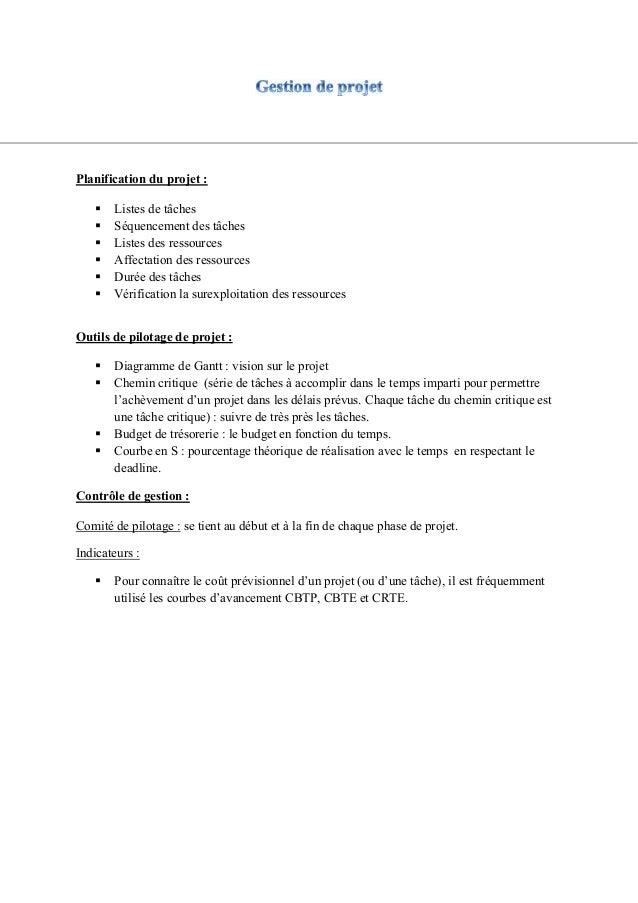 Planification du projet : Listes de tâches Séquencement des tâches Listes des ressources Affectation des ressources D...