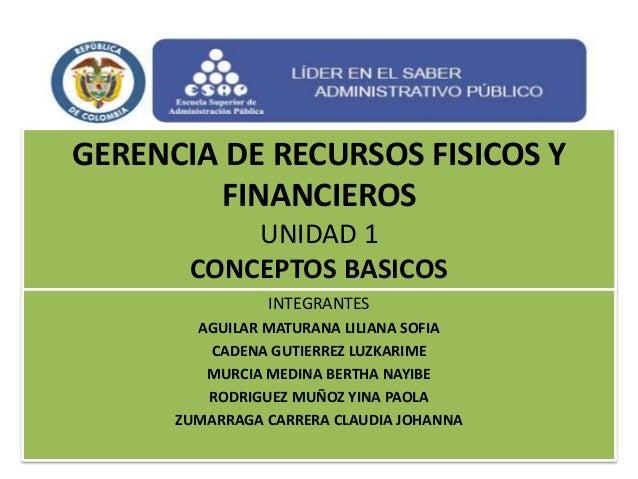 GERENCIA DE RECURSOS FISICOS Y FINANCIEROS UNIDAD 1 CONCEPTOS BASICOS INTEGRANTES AGUILAR MATURANA LILIANA SOFIA CADENA GU...