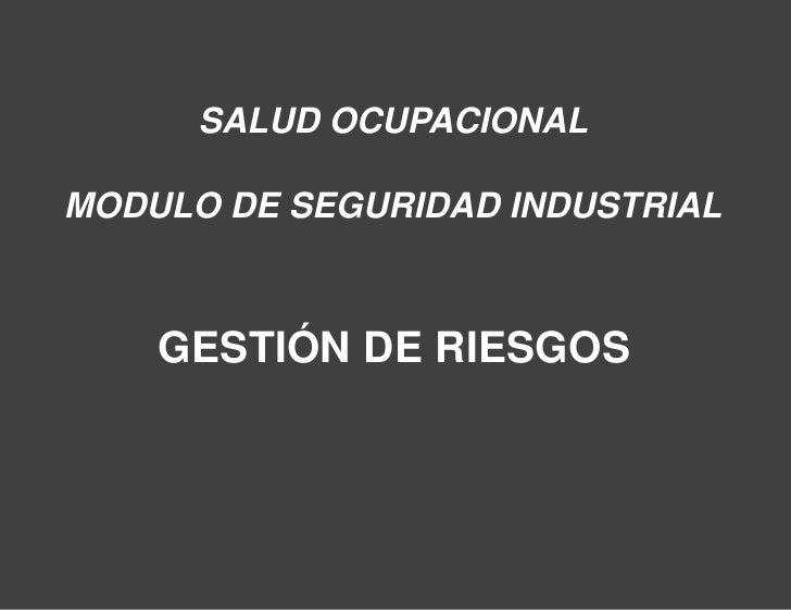 SALUD OCUPACIONALMODULO DE SEGURIDAD INDUSTRIAL    GESTIÓN DE RIESGOS