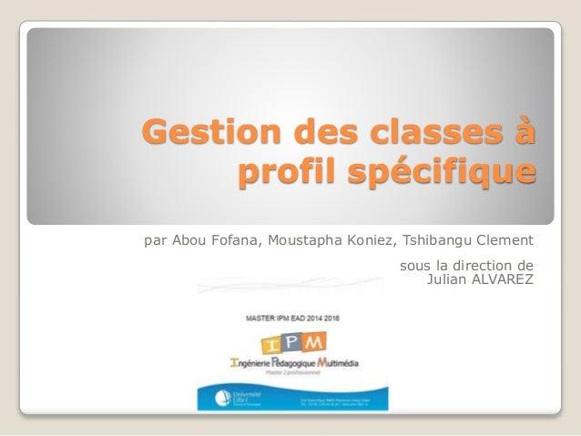 Gestion des classes à profil spécifique par Abou Fofana, Moustapha Koniez, Tshibangu Clement sous la direction de Julian A...