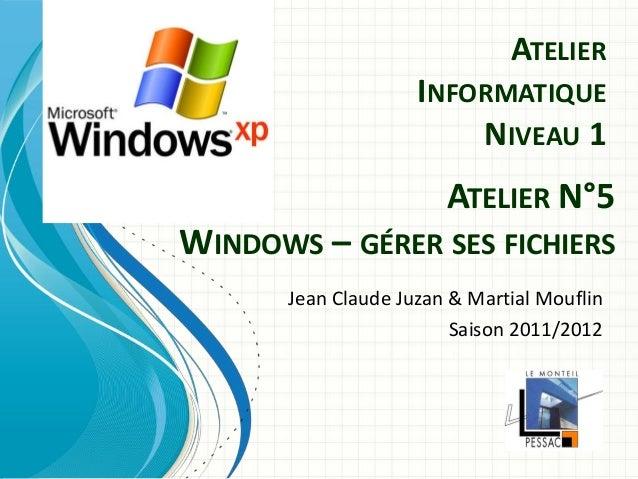 Comité du Monteil Atelier Informatique Niv. 1 saison 2011/2012  1  ATELIER INFORMATIQUE NIVEAU 1  Jean Claude Juzan & Mart...