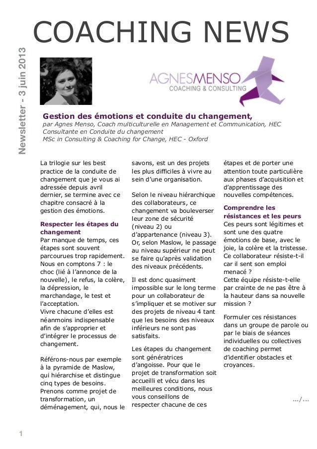 1Gestion des émotions et conduite du changement,par Agnes Menso, Coach multiculturelle en Management et Communication, HEC...