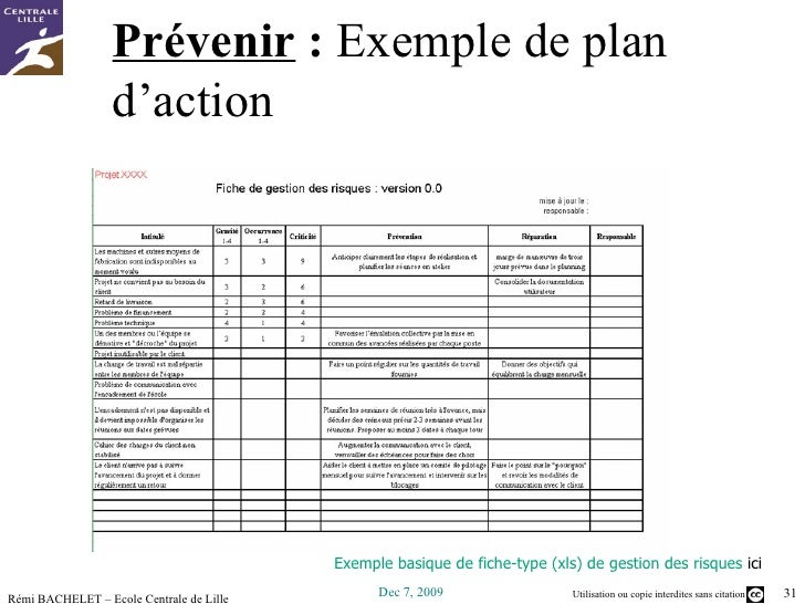 exemple de plan d action xls
