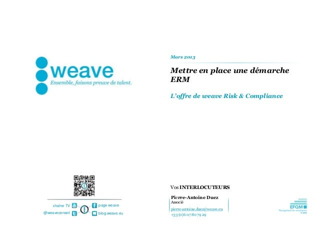 Mars 2013                                Mettre en place une démarche                                ERM                  ...