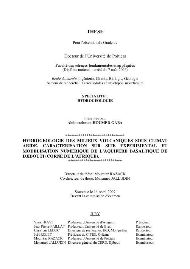 THESE Pour l'obtention du Grade de Docteur de l'Université de Poitiers Faculté des sciences fondamentales et appliquées (D...