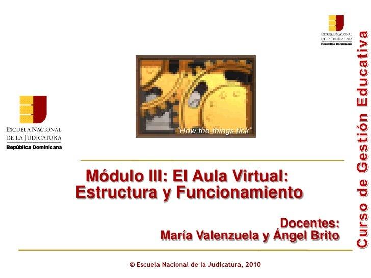 ©  Escuela Nacional de la Judicatura, 2010 Módulo III: El Aula Virtual: Estructura y Funcionamiento Docentes:  María Valen...