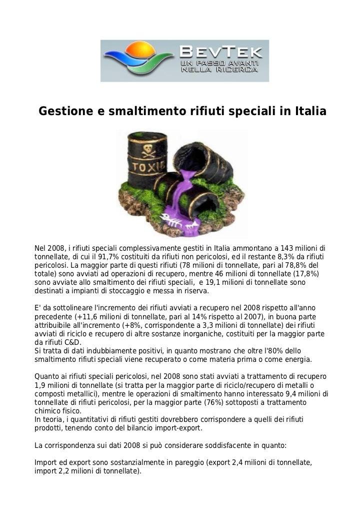 Gestione e smaltimento rifiuti speciali in Italia | Bevtek
