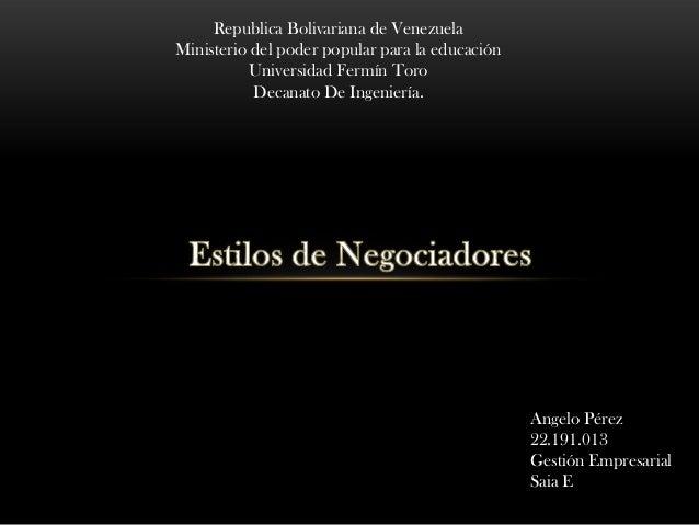 Republica Bolivariana de VenezuelaMinisterio del poder popular para la educación           Universidad Fermín Toro        ...