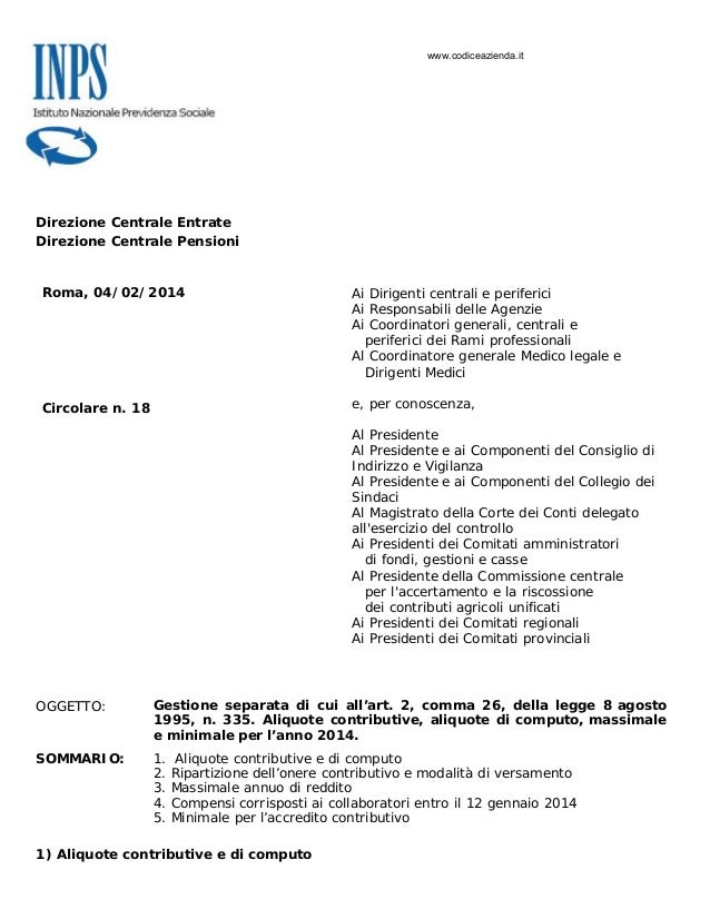 www.codiceazienda.it  Direzione Centrale Entrate Direzione Centrale Pensioni  Roma, 04/02/2014  Ai Dirigenti centrali e pe...