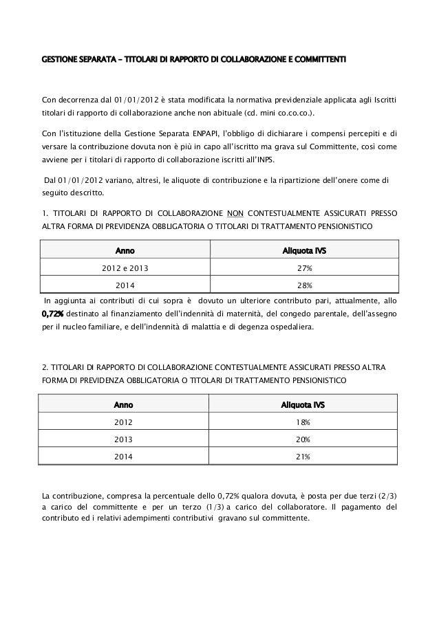 Gestione separata ENPAPI – Titolari di rapporto di collaborazione e committenti