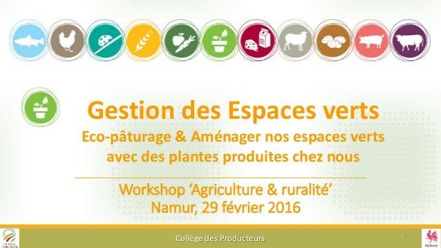 Workshop 'Agriculture & ruralité' Namur, 29 février 2016 Collège des Producteurs Gestion des Espaces verts Eco-pâturage & ...