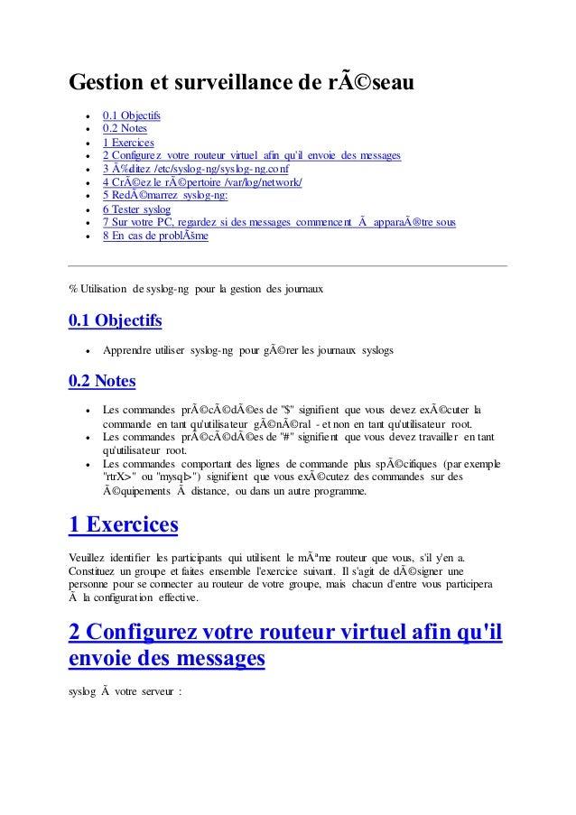 Gestion et surveillance de réseau   0.1 Objectifs   0.2 Notes   1 Exercices   2 Configurez votre routeur virtuel afin...